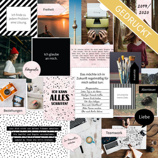 "Vision Board Layout-Set - ""Black & White"" (Gedruckt)"